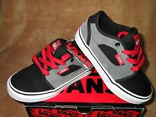 NEW VANS COVERT LEATHER SKATEBOARDING SHOES BLACK/GREY/RED YOUTH  11Y