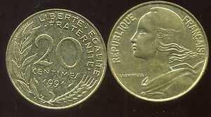 20 centimes 1991    marianne
