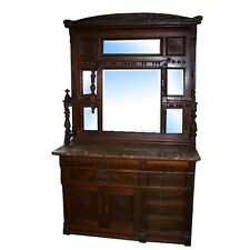 Antique Eastlake Walnut Sideboard with Marble Top #7227