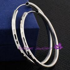 Stamped 925 Sterlinng SILVER Plain Medium LARGE Round HOOP EARRINGS EFS003