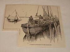 1887 magazine engraving ~ FRENCH APPLE BOAT Lake Champlain, VT