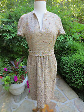 RENA LANGE Champagne Tweed Beaded Belted Dress US 8, MINT CONDITION