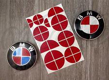 RED CARBON FIBER HALF FOR BMW Badge Emblem Overlay Sticker HOOD RIMS FIT ALL BMW