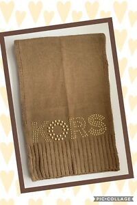 Michael Kors Logo Studded Knit Scarf Camel, Cream,   with Gold NWT