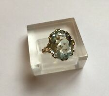 Hallmarked 9ct 9k Gold Oval Solitaire Aquamarine Ring