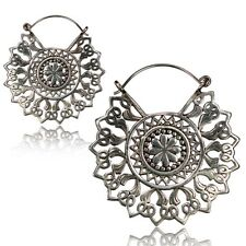 "PAIR 18g MANDALA FLOWER 2"" INCH POLISHED WHITE BRASS PLUGS EARRINGS GAUGES GIRLY"