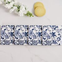 Le Faisan Ceramic Coasters Set x4 Blue White Hamptons Coastal Beach Home Decor ©