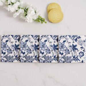 Le Faisan Ceramic Coasters Set x4 Blue White Hamptons Coastal Beach Home Decor ©