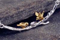Silberkette mit Anhänger Vogel Ast Vergoldet Golden Ethno Halskette Damen 925
