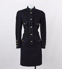 Louis Feraud Navy Blue Long Sleeve Button Down Shift Dress Size 8