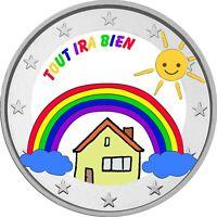 2 Euro commemorative Arc en ciel / enfants / colored / Tout Ira Bien / francais