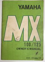 Yamaha Owner's Manual MX 100-125 402-28199-10 LIT-11624-02-00