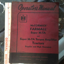 McCormick Farmall International Super M-TA Tractor Operators Manual original