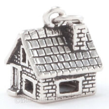 3D CABIN STONE HOUSE Pendant Wizard of OZ DOROTHY HOME Charm 925 STERLING SILVER