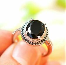 2.50Ct Oval Cut Black Diamond Double Halo Engagement Ring 14K Rose Gold Finish