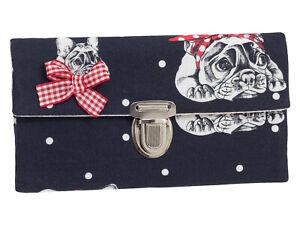 Damen Geldbörse Portemonnaie Stoff Bulldogge schwarz Schleife Handmade Dawanda