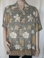 Claiborne Olive Green Tan Cream Floral Print Hawaiian Short Sleeve Large Aloha