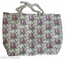 RETRO LOOK TOTE BAG WITH ROPE HANDLES AND PINK ROSE PATTERN