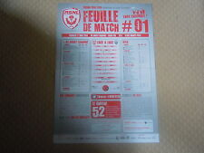 Feuille de match N°01 ASNL  Nancy - Dijon (2014-2015)