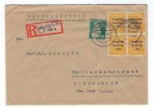 1948 Leipzig Germany, Russian Zone Overprints, Registered to Binghamton New York