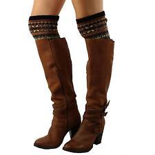 Peek a Boo Nordic Snowflake Knit Boot Cuffs Liner Topper Legwarmer Black Beige