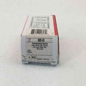 695-IG PASS & SEYMOUR 3-Way Ivory Duplex Combination Switch and Pilot Light