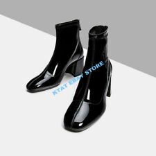 Womens Patent Leather Ankle Boots Square Toe Black Block Heels Occident Shoes