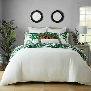 Wamsutta St. George Comforter & 2 Shams Tropical & Ribbed White/Green King $200