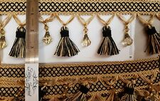 """Beaded Tassel Fringe Trim 3.5"""" Style# Bf 4027 Color, Sold By the Yard black gold"""