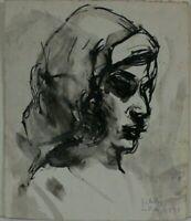 Rudolf Rothe Bildnis einer Frau im Profil monogrammiert datiert 1971 Tusche