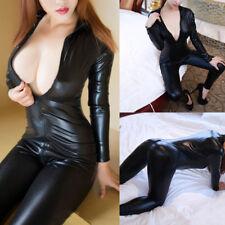 Women' s Long Sleeve Zipper Body-con Catsuit Jumpsuit Bodysuit Playsuit Clubwear
