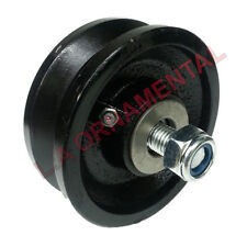 """4"""" Cast Iron V Groove Wheel Roller Bearing Grease Fitting Rolling Sliding Gates"""