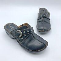 BOC Born Concept BC3650 Women Black Leather Mule Clog Shoe Size 8 Pre Owned