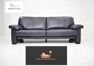 Willi Schillig Dreisitzer Designer Leder Dunkelblau Sofa Couch Wohnzimmer Modern