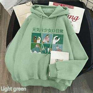 Lady Women's Hoodie Pullover Fleece Lined Girl Japanese Kawaii Sweatshirt Winter