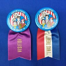 Boy Scout Two 1976 Lancaster Lebanon Scouting On Parade Buttons With Ribbons