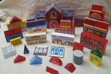 Wooden Playset 45 pieces Building Block barn police & fire station school & more