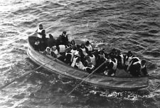 Titanic White Star Lifeboat Survivors Vintage Black & White Photo Print Picture