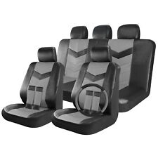Faux Leather Car Seat Covers Full Set Black / Grey 17pc w/Steering Wheel cover