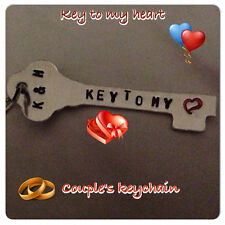 Key To My Heart Custom Hand Stamped Key Chain Gift Unique OOAK