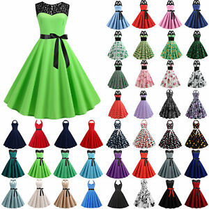 Womens Lady 60s Rockabilly Swing Dress Cocktail Pinup Retro Evening Party