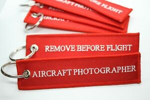 Remove before Flight - Aircraft Photographer Embroidered Key chain luggage tag