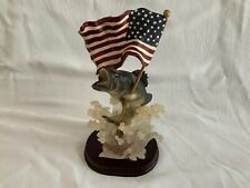 Largemouth Base Figurine with American Flag