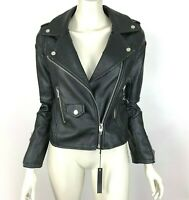 Blank NYC Faux Leather Moto Biker Jacket Zip Pockets Lined Women XS NWT $128