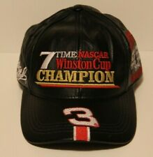 7 Time Winston Cup Champion DALE EARNHARDT Leather HAT NASCAR #3 Adjustable