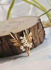 Broche Doré Fleur Orchid Perle Blanc Elegant Vintage Original Mariage XZ4
