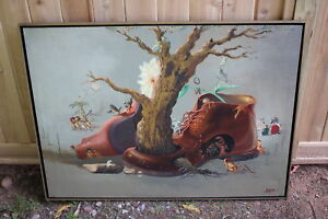Original Miguel C. Surreal Painting Strange Animal Figures Tree Growing Boot '78