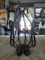 VINTAGE BLACK METAL WROUGHT IRON RUSTIC WALL HANGING CANDLE HOLDER ~ ORNATE