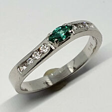14K solid white gold light weight Emerald & white Topaz stone size 2.2 gram