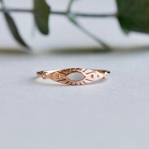 14k Rose Gold Vermeil Ring, Marquise Ring, Mother of Pearl Ring